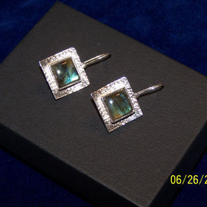 Silpada Square Hammered Labradorite Earrings W0882